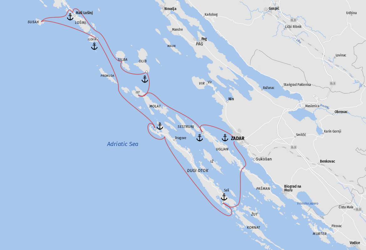 Map 7-Day Itinerary - North Dalmatia